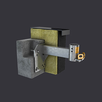 Attikanuchse - Montage an Stahlbetonattika- Accen FAS AT Fassadenzugangssystem